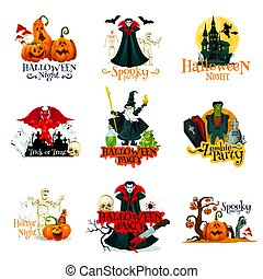 Halloween horror night party monsters badge