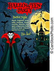 Halloween horror night party poster with vampire