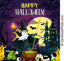 Halloween horror night poster of october holiday