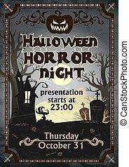 Halloween horror night presentation poster