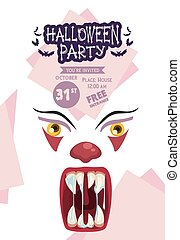 halloween horror party celebration poster with clown evil face