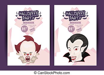 halloween horror party celebration poster with dark clown and vampire