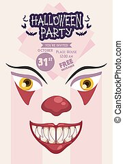 halloween horror party celebration poster with dark clown face