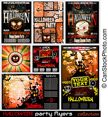 Halloween Horror Party flyer with a lot of themed elements and blood drops, bats, pumpkins and so over.