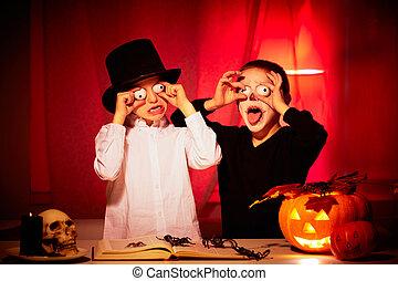 Halloween horror - Photo of two eerie boys frightening ...