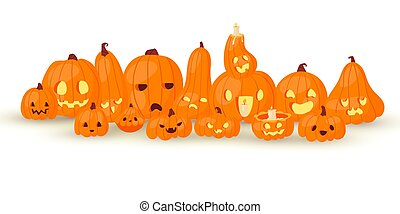 Halloween horror pumpkin-heads Jack o laterns vector illustration isolated on white. Pumpkins family with fire and scary faces for hallowen poster.