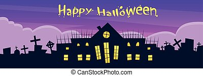 Halloween House Cemetery Graveyard Card Banner