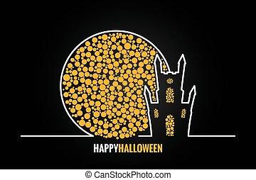 halloween house full moon design background