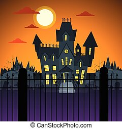 Halloween House Ghost Party Invitation Card Flat