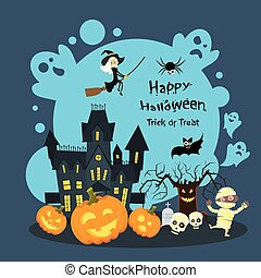 Halloween House Ghost Pumpkin Face Party Invitation Card