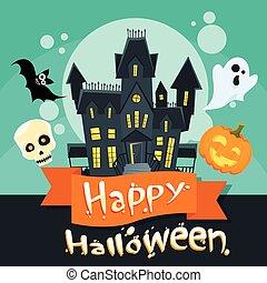 Halloween House Ghost Pumpkin Face Party Invitation Card