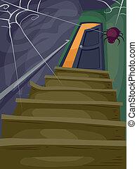 Halloween House - Halloween Illustration of a Flight of...