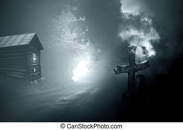 Halloween house - House in the night, photo manipulation to ...