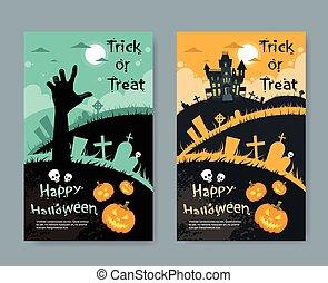Halloween House Pumpkin Face Party Invitation Card