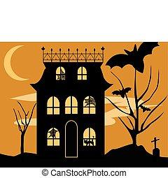 Vector Halloween haunted house with spooky spiderwebs, black cat, bats and graveyard on hallloween night.