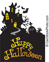 Halloween house with sign 3 - vector illustration.