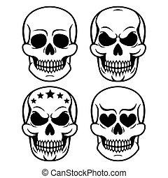 Halloween human skull design - Vector icons set of skulls...
