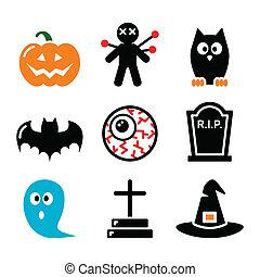 halloween, icônes, ensemble, -, citrouille