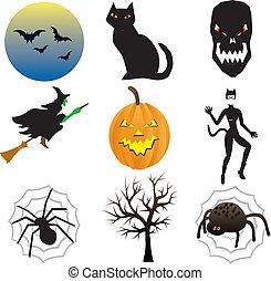 halloween, icônes