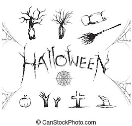 Halloween icon and symbol set with sketch brush. vector illustration.