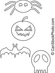 Halloween icon line drawing