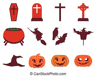 Halloween icon set flat isolated on white background. Vector illustration