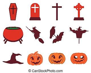 Halloween icon set flat isolated on white background. Vector illustration