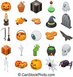 Halloween icon set, isometric style