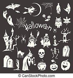 Halloween icon set, simple style