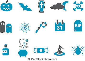 Halloween Icon Set - Vector icons pack - Blue Series, ...