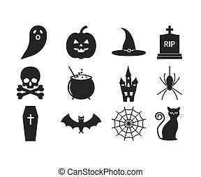 Halloween icon set. Vector illustration, flat design.