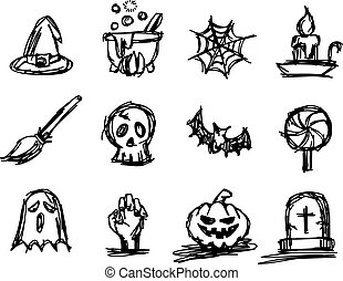 Halloween icon set vector illustration sketch hand drawn with black lines, isolated on white background