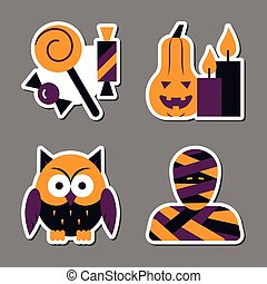Halloween icon sticker set patchwork design