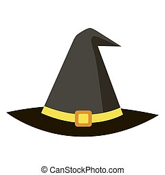 Halloween icon witch magic black hat on white