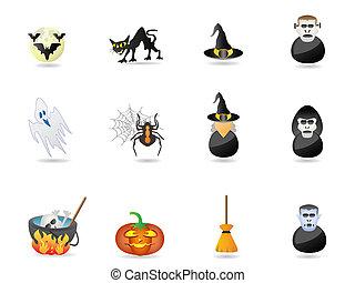 halloween, icona, set