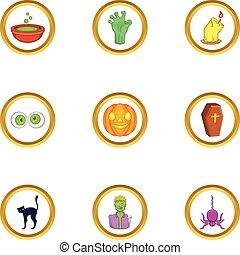halloween, icono, conjunto, caricatura, estilo