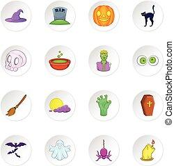 halloween, iconos, conjunto, caricatura, estilo