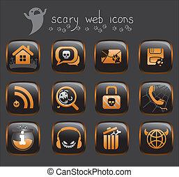 halloween, iconos de la tela