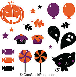 Halloween icons and retro elements isolated on white