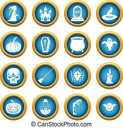 Halloween icons blue circle set