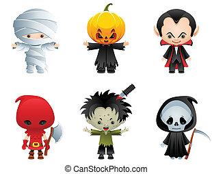 Halloween icons - Vector illustration - Halloween characters...