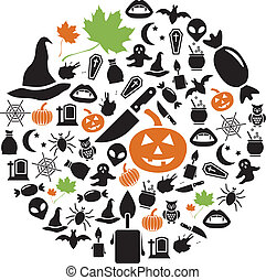 halloween icons in circle