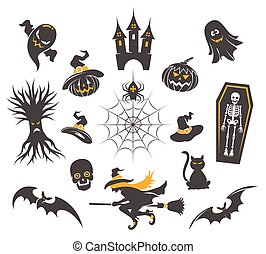 Halloween icons isolated on white