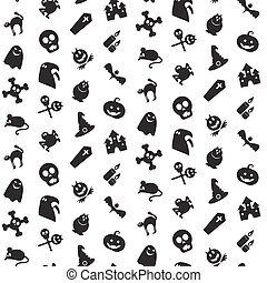 Halloween icons seamless pattern