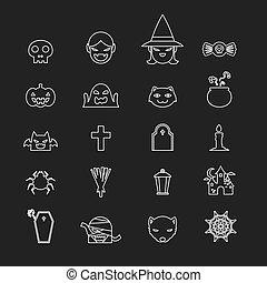 Halloween icons set black and white color line art design on black background