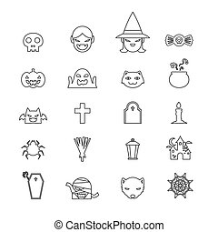 Halloween icons set black and white color line art design on white background