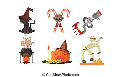 Halloween icons set, black cat in a witch hat, crossed candy canes, cauldron with potion, pumpkin, zombie, design elements for a holiday vector Illustration