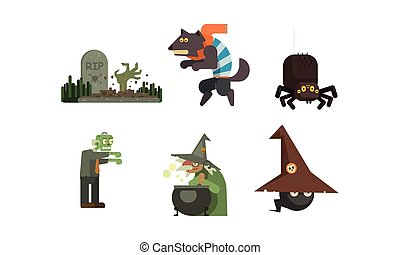 Halloween icons set, grave with tombstone, witch, spider, werewolf, zombie, design elements for a holiday vector Illustration