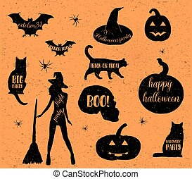 Halloween icons set. Vector illustration.