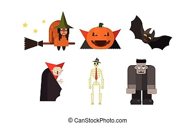 Halloween icons set, witch, pumpkin, vampire, bat, scary, skeleton, zombie, design elements for a holiday vector Illustration